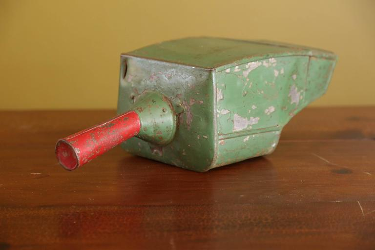 Industrial Painted Green Metal Scoops with Red Handles from Belgium, circa 1950 6