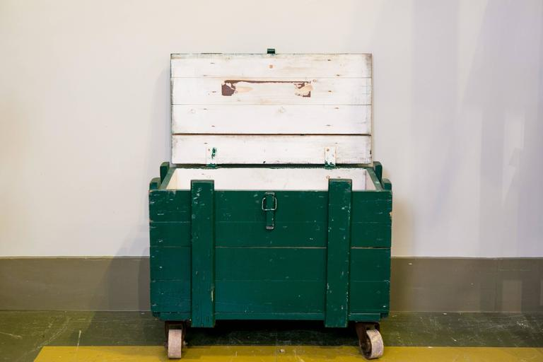 Vintage Green Wooden Trunks on Casters with Rope Handles and Hinged Lid 2