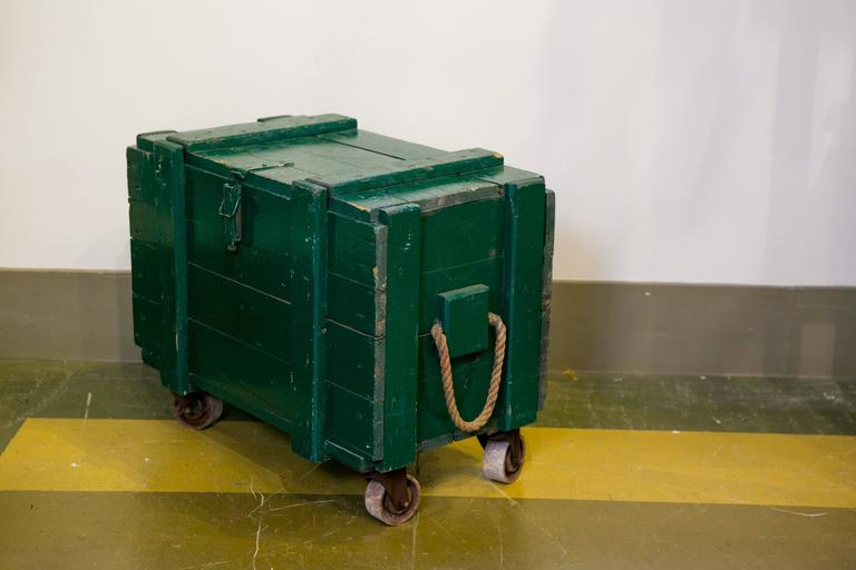 Vintage Green Wooden Trunks on Casters with Rope Handles and Hinged Lid 3