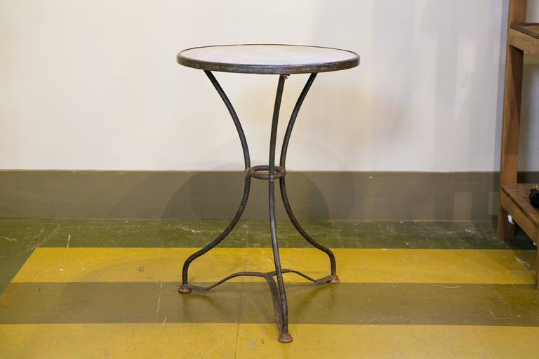 Marble-Top Iron Bistro Table from France, circa 1900 2