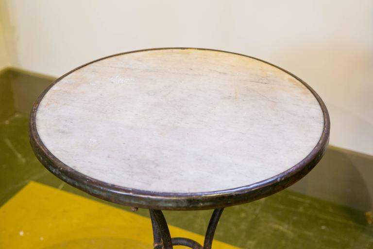 Marble-Top Iron Bistro Table from France, circa 1900 4