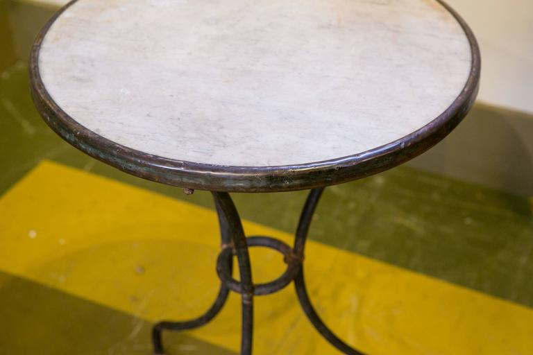 Marble-Top Iron Bistro Table from France, circa 1900 5