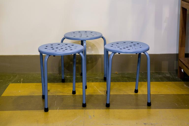 Set of Three Vintage Mid-Century Blue Perforated Blue Stools 2