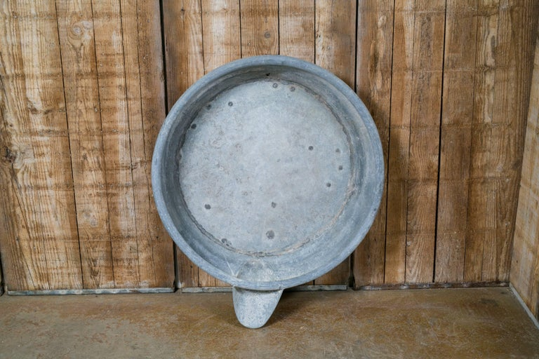 Oversized Vintage Industrial Zinc Bowl with Spout 3