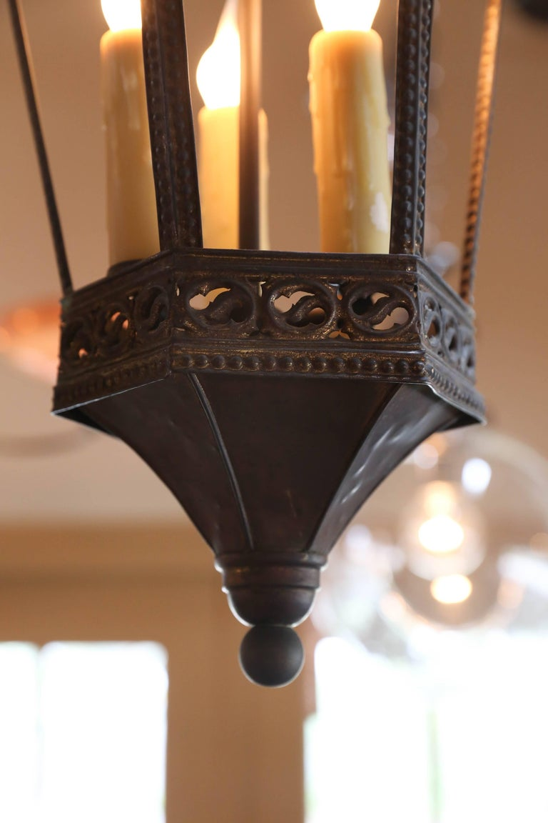 Near Pair Brass Gothic Revival Lanterns From France Circa