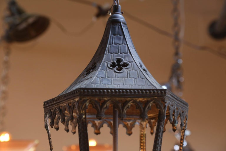 Near-Pair of Antique Brass Gothic Revival Lanterns from France, circa 1900 3