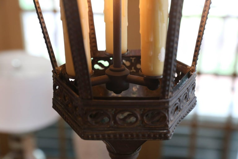 Near-Pair of Antique Brass Gothic Revival Lanterns from France, circa 1900 4