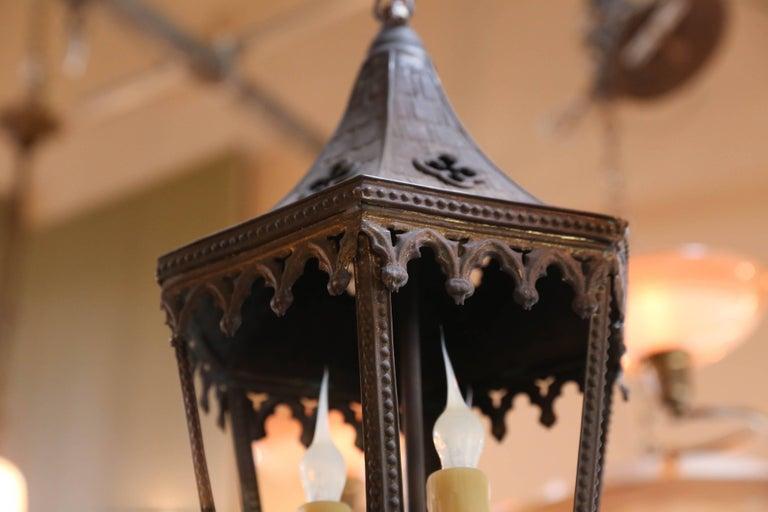 Near-Pair of Antique Brass Gothic Revival Lanterns from France, circa 1900 6