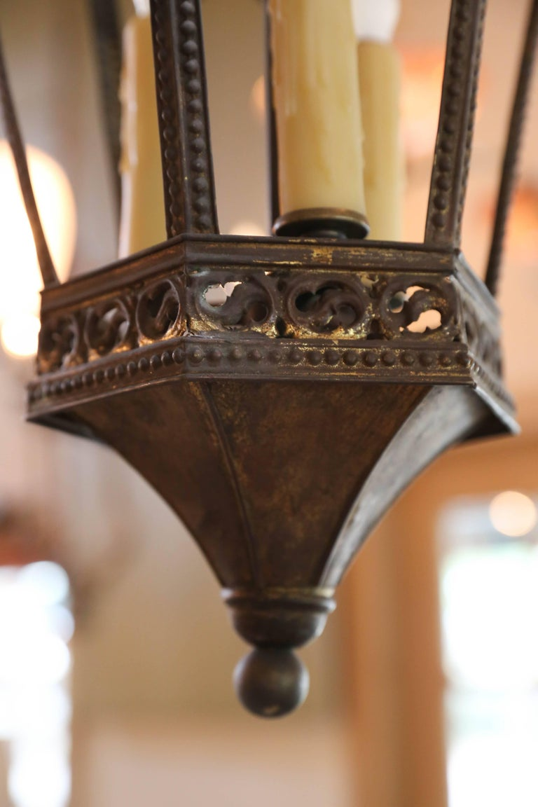 Near-Pair of Antique Brass Gothic Revival Lanterns from France, circa 1900 2