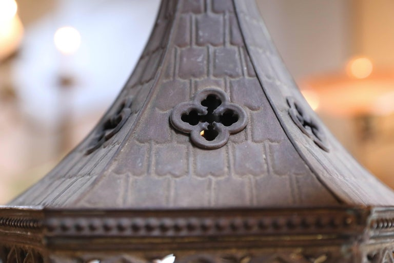 Near-Pair of Antique Brass Gothic Revival Lanterns from France, circa 1900 9