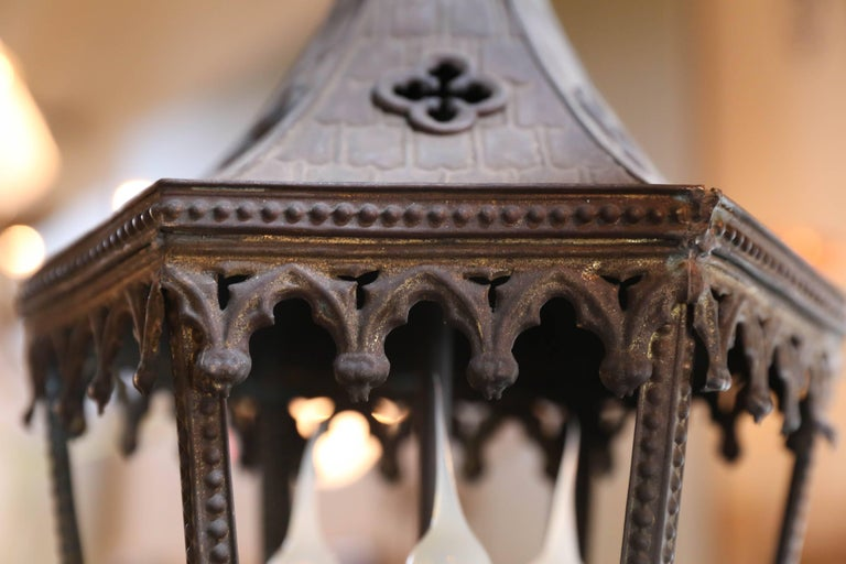 Near-Pair of Antique Brass Gothic Revival Lanterns from France, circa 1900 10