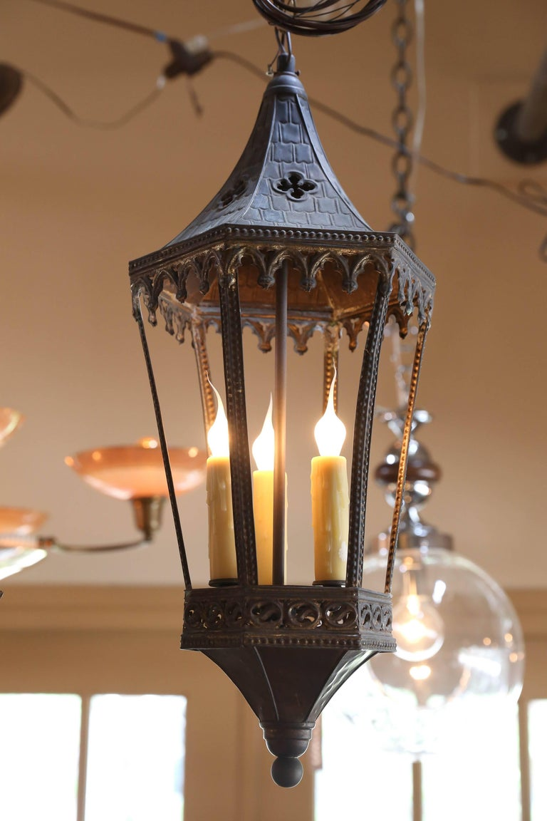 Near-Pair of Antique Brass Gothic Revival Lanterns from France, circa 1900 5