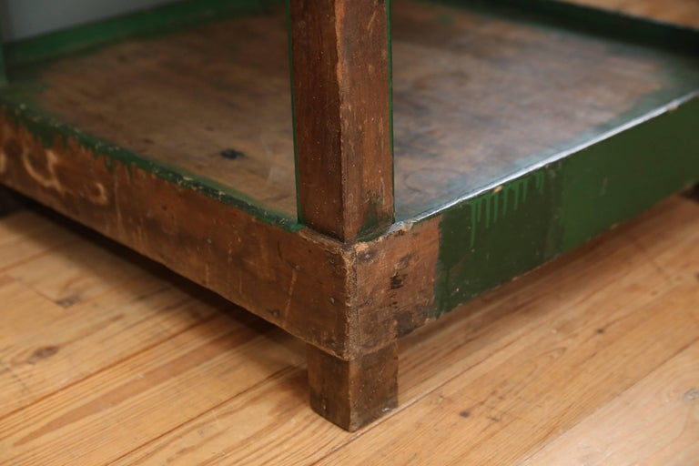 Tall Industrial Green Work Table with Bluestone Top from Belgium, circa 1940 6