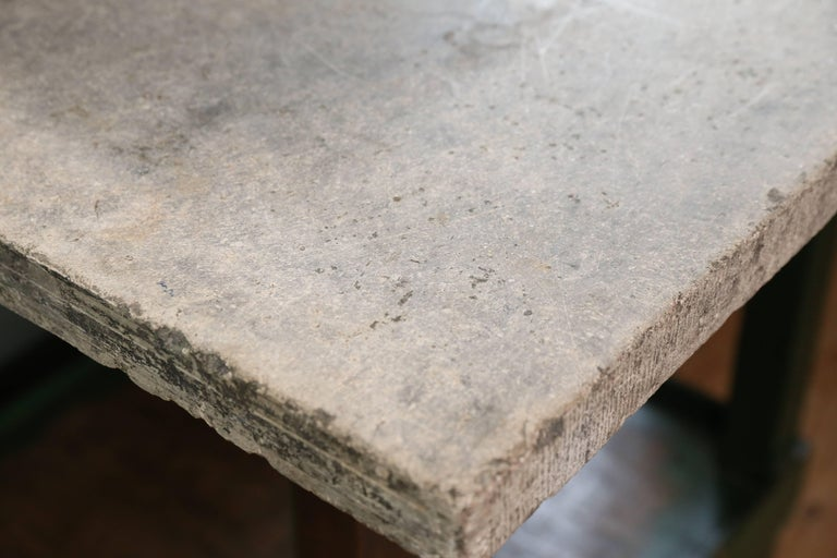 Vintage Industrial Green Work Table with Bluestone Top from Belgium 7