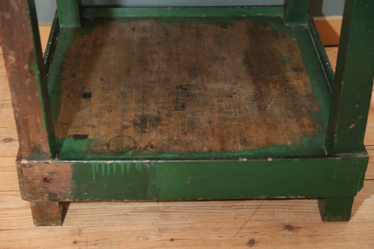 Tall Industrial Green Work Table with Bluestone Top from Belgium, circa 1940 4