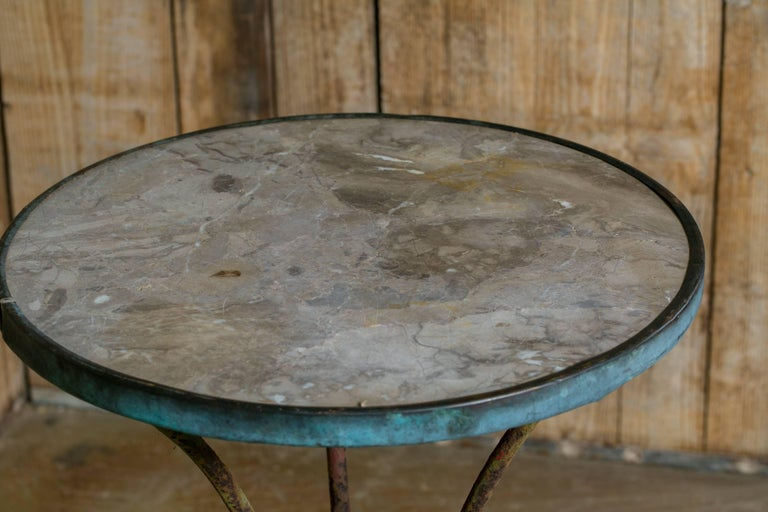 Antique French Marble-Top Bistro Table on Iron Base, circa 1910 3