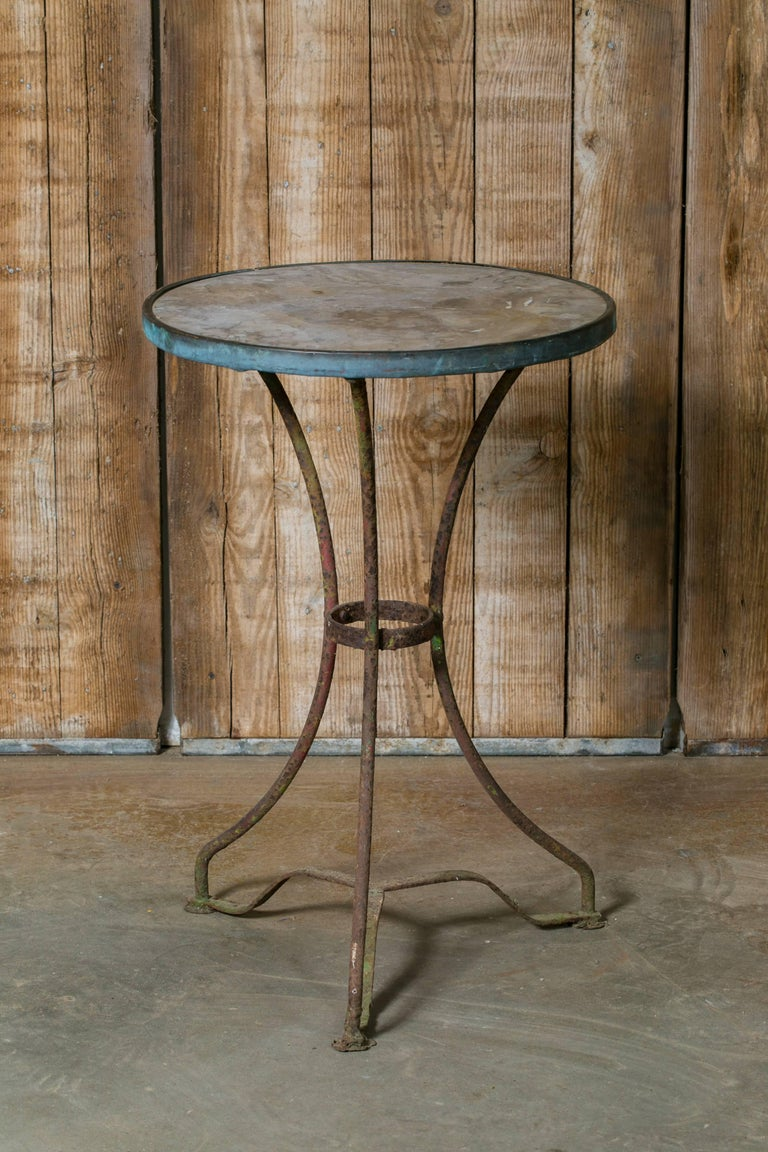 Antique French Marble-Top Bistro Table on Iron Base, circa 1910 2