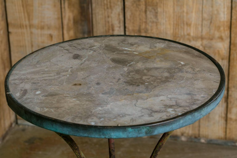 Antique French Marble-Top Bistro Table on Iron Base, circa 1910 4
