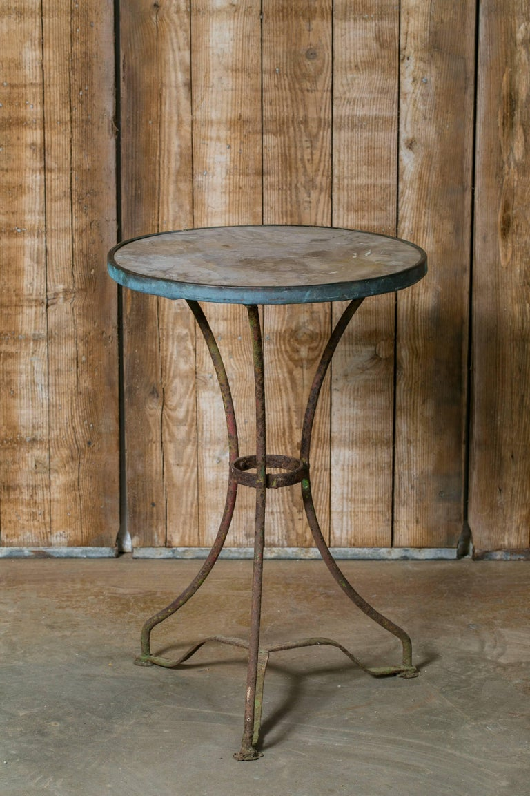 Antique French Marble-Top Bistro Table on Iron Base, circa 1910 5