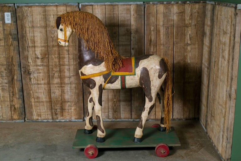 Life-Sized Vintage Painted Paper Mache Pony on Wheels 2