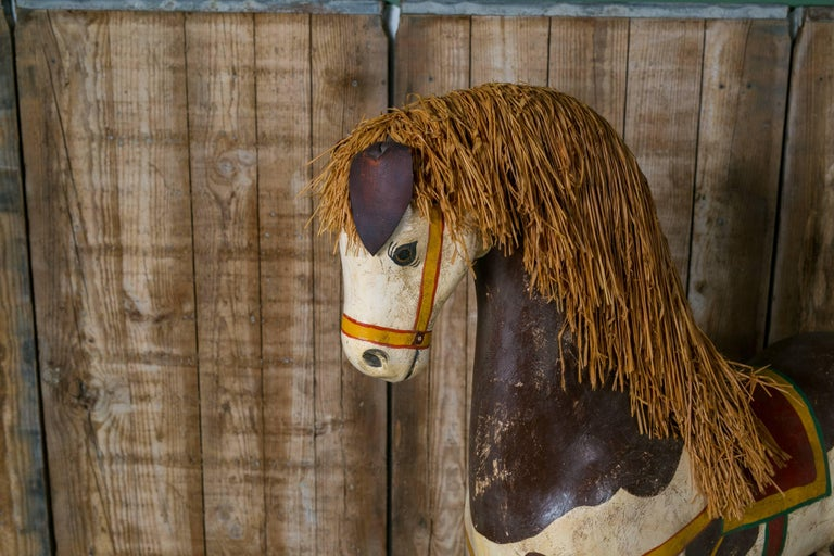 Life-Sized Vintage Painted Paper Mache Pony on Wheels 3