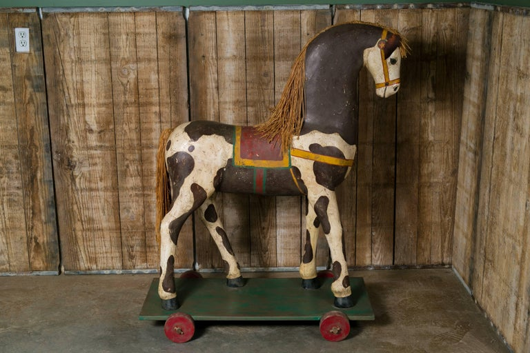 Life-Sized Vintage Painted Paper Mache Pony on Wheels 4