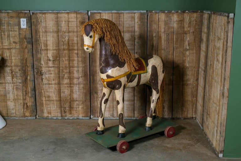 Life-Sized Vintage Painted Paper Mache Pony on Wheels 5