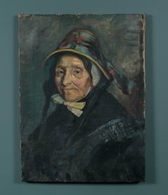 Original Mid 19th Century Oil Painting of Woman from Belgium