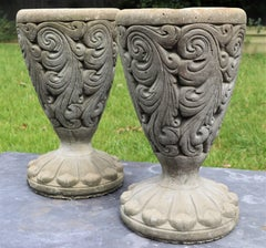 Pair of Concrete Footed Planters from Belgium