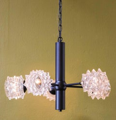 One of a Kind Black Metal Light with Vintage Mid-Century Modern Glass Shades