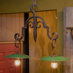 Vintage Hand-Wrought Iron Light with Green Enamel Shades