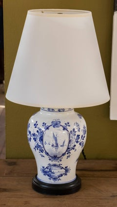 Vintage Blue and White Delft Ceramic Table Lamp with Shade, circa 1940
