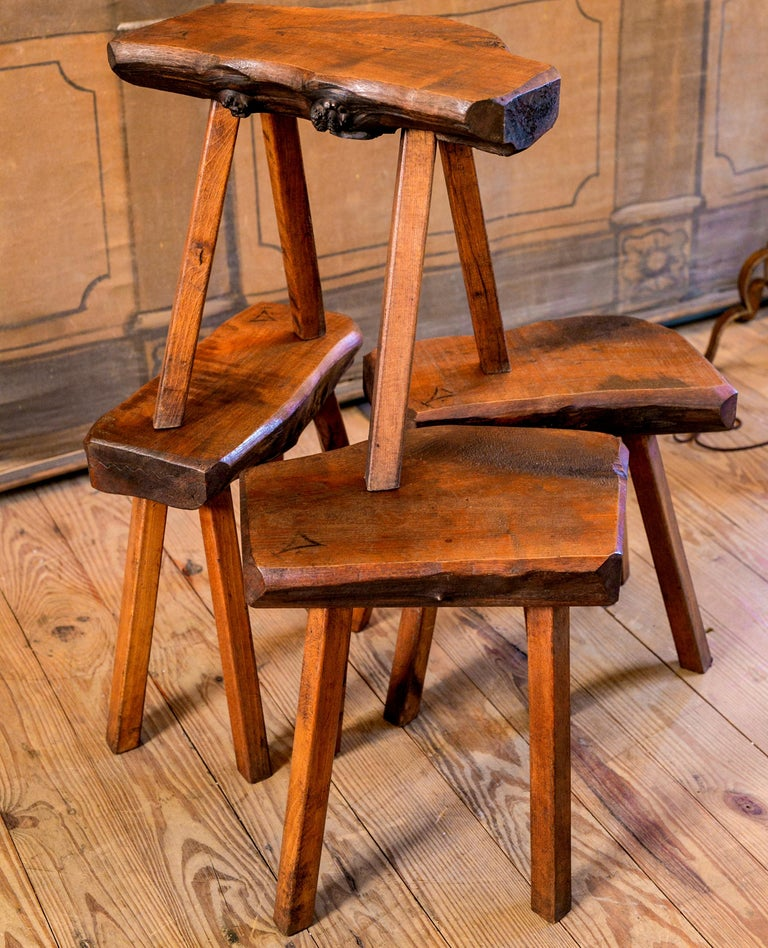 Belgian Handmade Collection of Oak Stools from Belgium with Live Edge For Sale