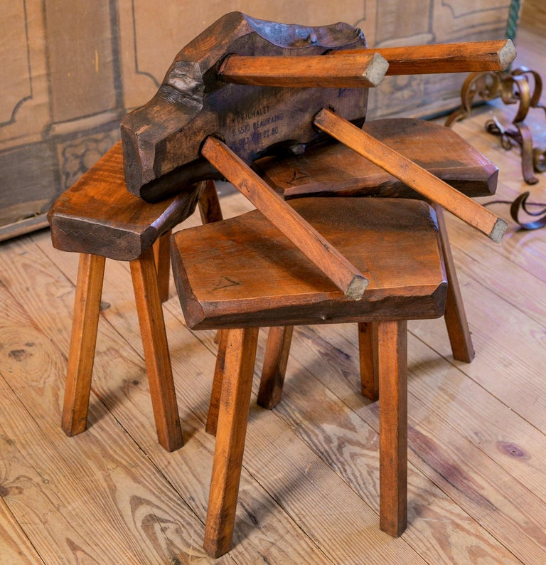 Hand-Carved Handmade Collection of Oak Stools from Belgium with Live Edge For Sale