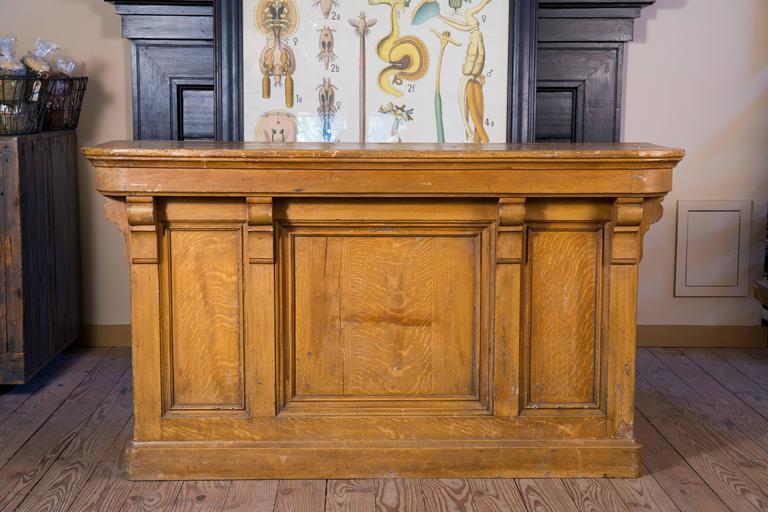 Antique Oak Counter From Belgium