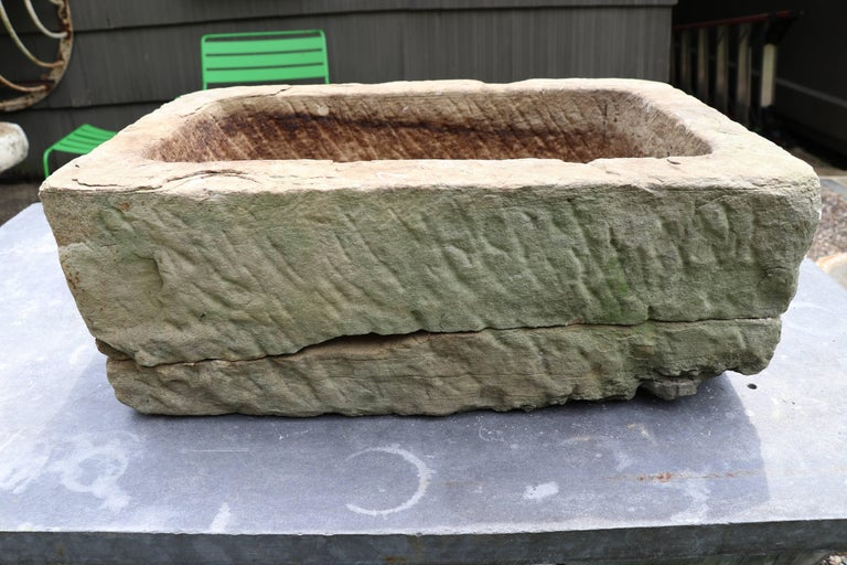Rustic Hand-Carved Belgian Limestone Planter For Sale