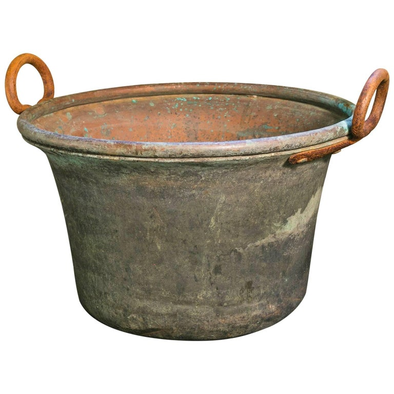 Antique French Copper Vessel with Forged Iron Handles