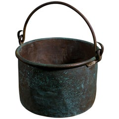 Large Hand-Forged French Copper Pot with Iron Handle, circa 1890
