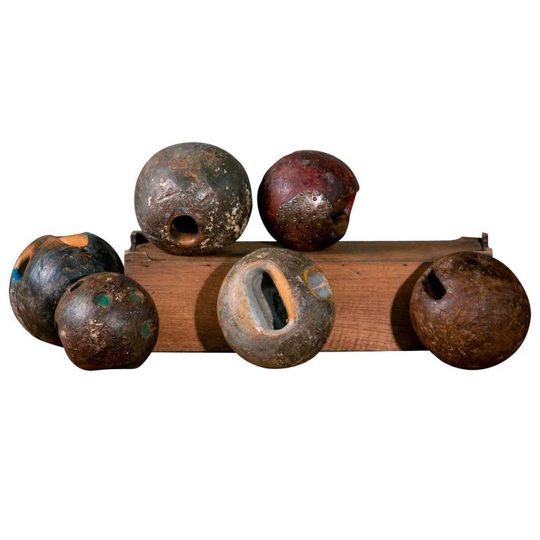 Assorted Antique European Iron and Wood Game Balls
