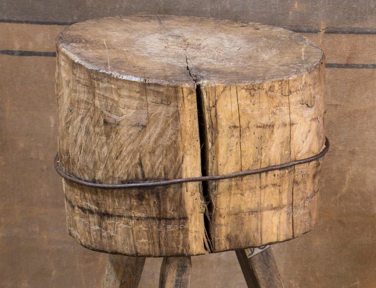 This charming butcher block would naturally be nice in a kitchen, but could also be used as an end table in a minimalistic, or country interior.