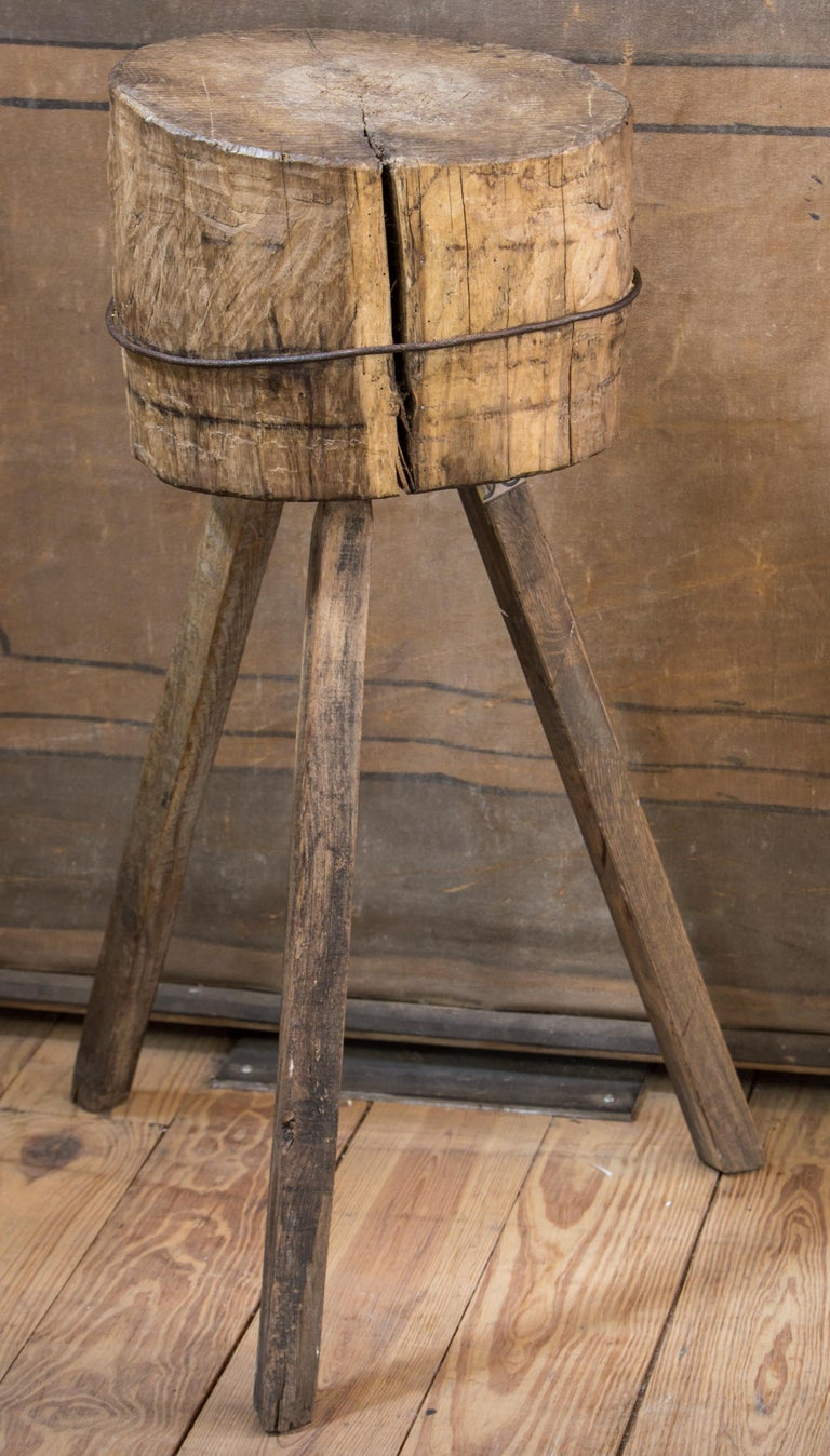 French Primitive, Rustic Farmhouse Butcher Block For Sale