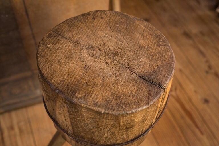 Hand-Carved Primitive, Rustic Farmhouse Butcher Block For Sale