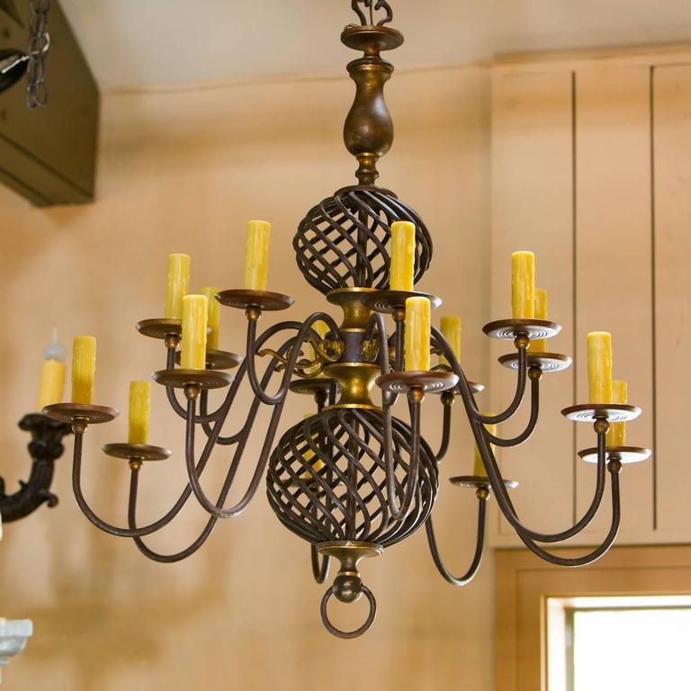 Sixteen Arm Wrought Iron And Brass Two Tier Chandelier