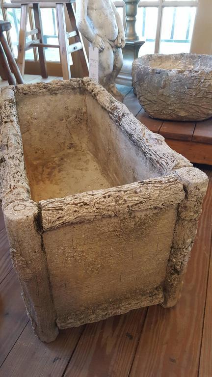 Faux Bois Cement : Rectangular concrete faux bois planter from belgium circa