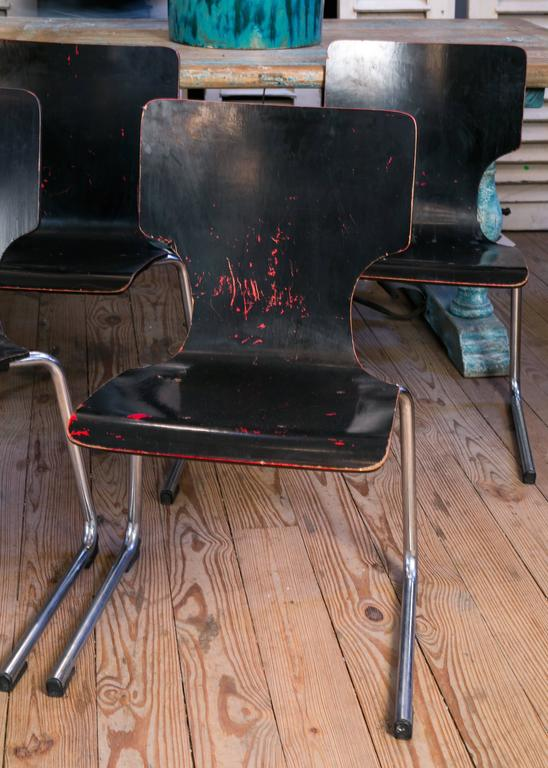 Set of Four Black Mid-Century Modern Chairs 2