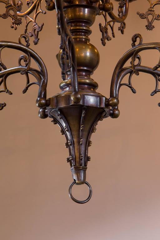 Antique Belgian Gothic Style Bronze Chandelier with Twelve Arms, circa 1900 2