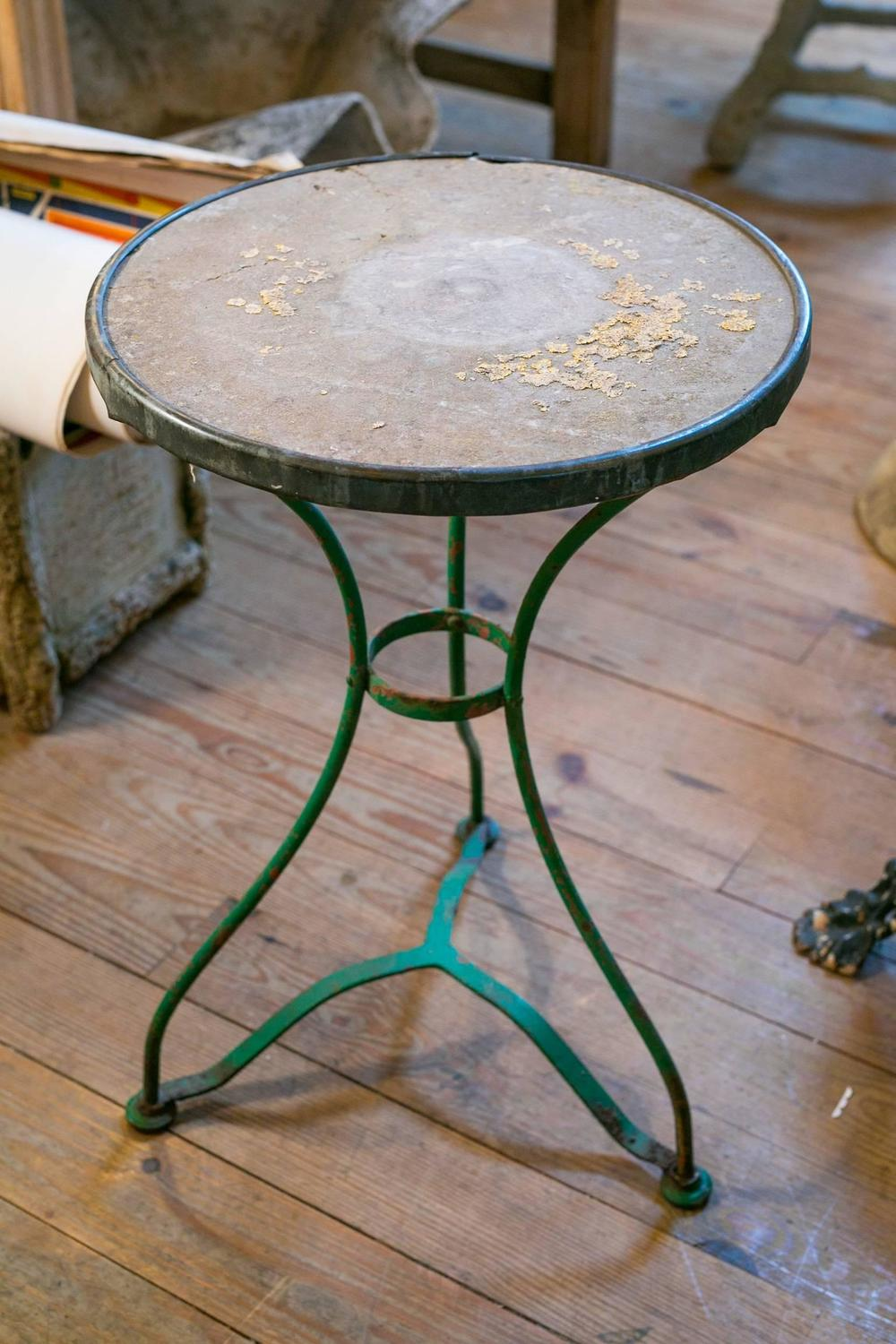Vintage French Iron Bistro Table With Marble Top For Sale