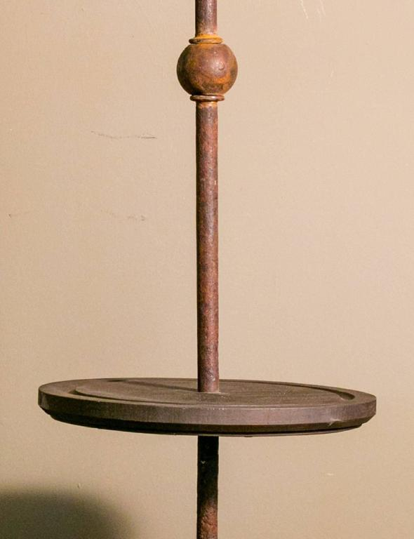 Custom hand forged iron and wood floor lamp for sale at for Wooden floor lamp for sale