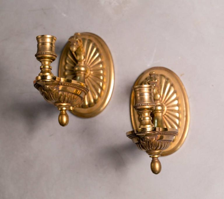 Pair Italian Heavy Brass Regency Style Candle Sconces, circa 1970 2
