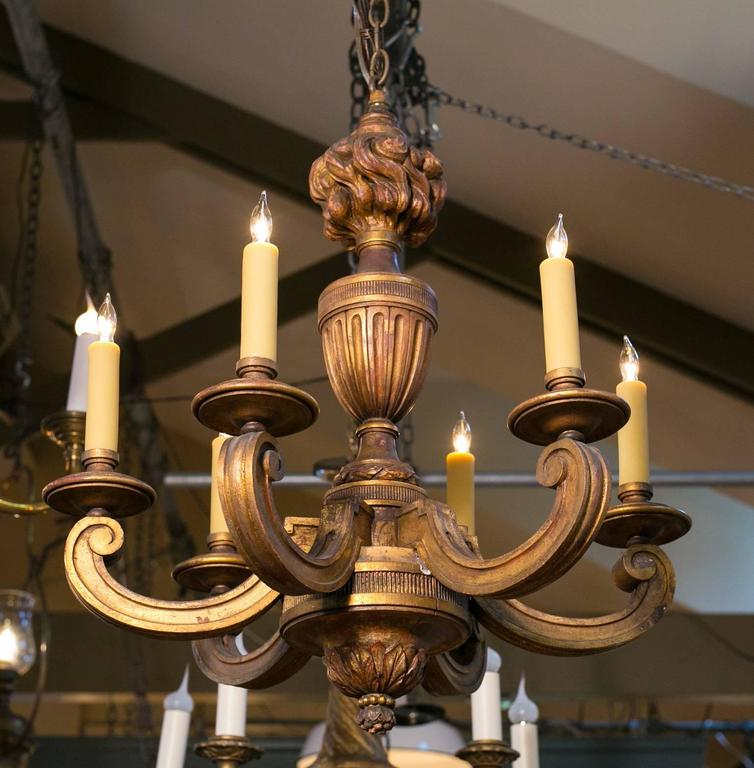 French Empire Style Carved Gilt Wood Chandelier with Six Arms, circa 1900 3